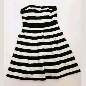 White House Black Market 10 Strapless Stripe Dress
